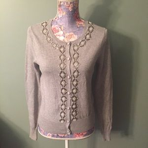 Fossil Gray Beaded Embellished Cardigan Sweater Sm